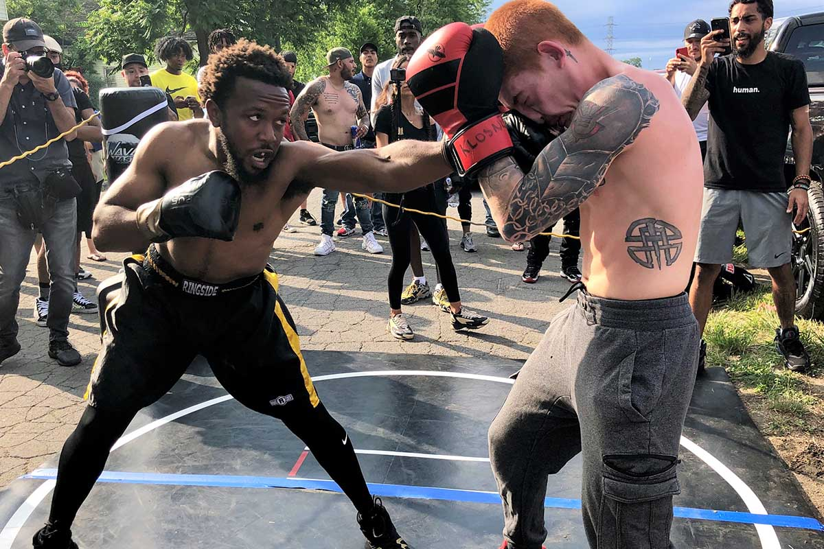 Dr'Kev Carree, in black shorts, fought in three matches at the latest Pick Your Poison event. (BridgeDetroit photo by Louis Aguilar)