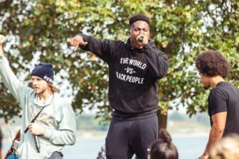 Jae Bass and other protesters